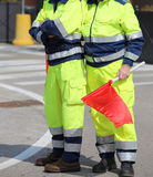 men of the Italian civil protection with garish uniform and the Stock Image