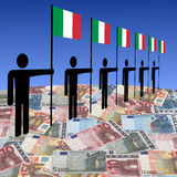 Men with  Italian flags on euros Royalty Free Stock Photo