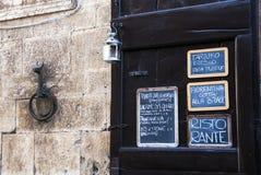 Menú italiano del restaurante Imágenes de archivo libres de regalías