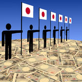 Men with Japanese flags on yen Royalty Free Stock Photos