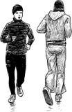 Men at jog. Vector drawing of the young men at healthy run Royalty Free Stock Image