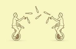 Men juggling pins while cycling together. Graphic vector Stock Images