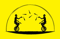 Men juggling pins while cycling together. Graphic vector Royalty Free Stock Photo
