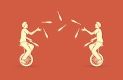Men juggling pins while cycling together. Graphic vector Stock Photos