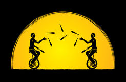 Men juggling pins while cycling together. Graphic vector Royalty Free Stock Images