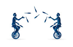 Men juggling pins while cycling together. Graphic vector Stock Photography