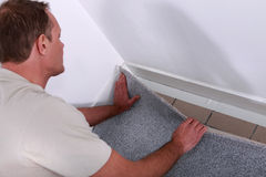 Men just putting carpet stock image