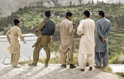 Men at the Karakoram Highway in Pakistan Stock Image