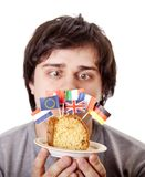 Men keep cake with european flags. Stock Images
