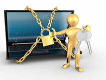 Men with keys and laptop with chains and lock. Royalty Free Stock Photography