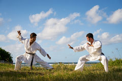 Men Kicking Punching Fighting During Combat Sport Karate Simulat Royalty Free Stock Image