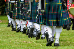 Men in kilts in New Zealand. Photo of men below waist in green kilts and white socks are marching in New Zealand stock photography