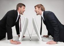 Men?-Konfrontation. Stockfotografie