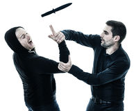 Men krav maga fighters fighting isolated Royalty Free Stock Image
