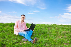 Men with laptop outdoor Royalty Free Stock Image