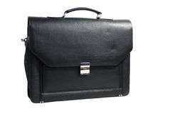 Men leather bag. This is a beautiful black leather men laptop bag isolated on a white background Stock Image