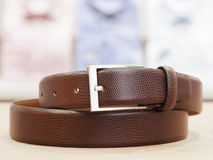 Men Leather Belt with Silver Buckle Royalty Free Stock Image