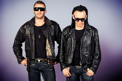 Men in leather jackets Stock Photos