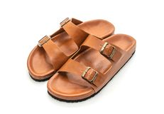 men leather sandals stock image