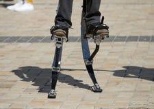 Men legs for jumping stilts. Men legs for a jumping stilts Stock Photos