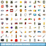 100 men leisure icons set, cartoon style. 100 men leisure icons set in cartoon style for any design vector illustration Stock Images