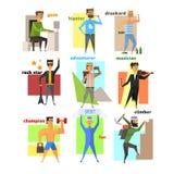 Men Lifestyle in Flat Style Vector Illustration Stock Photos