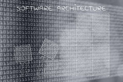 Men lifting blocks of binary code, software architecture Royalty Free Stock Images