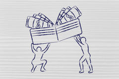 Men lifting up wallet with cash Royalty Free Stock Photo