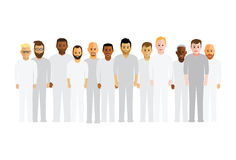 Men in a line. Large group of men in a line Stock Photo