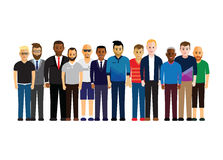Men in a line. Large group of men in a line Royalty Free Stock Image