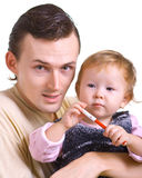 Men with a little child Stock Image