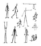 Men long skinny silhouettes. Hand drawn vector illustration or drawing of some men long skinny silhouettes Royalty Free Stock Images