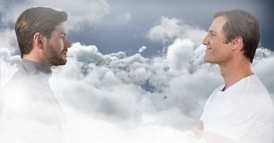 Men looking at each other through clouds. Digital composite of Men looking at each other through clouds stock illustration