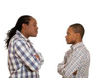 Men looking  at each other with hatred, contempt Royalty Free Stock Photography