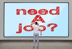 Men looking at need a job. Businessmen looking at big plasma panel with need a job Stock Photos