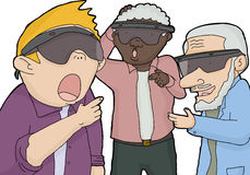Men Looking with Virtual Reality Stock Image