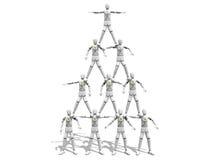 Men making a pyramid figure. Crash test dummies making a pyramid figure over a white background Stock Photos