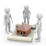 Men with manuscript and house, 3d rendering Royalty Free Stock Images