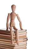 Men with many books. White background Royalty Free Stock Images