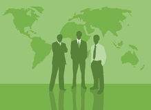 Men with map. Illustration of business men with world map in background Stock Photo