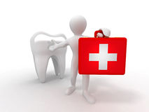 Men with medical case and tooth. Dentist Royalty Free Stock Images