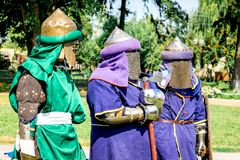 Men in Medieval Warriors` Clothes before the Fight_ stock photography