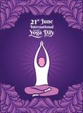 Men meditating yoga pose, International yoga day poster. Yoga men practice lotus pose, International yoga day celebrate 21 june concept design Royalty Free Stock Images