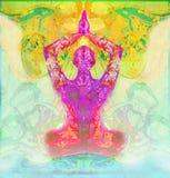 Men in meditation. Raster illustration Stock Images