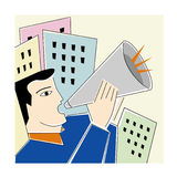 Men with a megaphone. Illustration Royalty Free Stock Photography