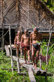 Men of the Mentawai tribe go hunting. stock images