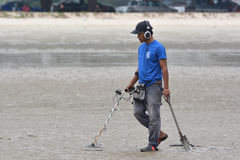 Men With Metal Detector royalty free stock photos