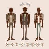 Men in modern and retro clothes. Fashion illustration stock illustration