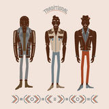 Men in modern and retro clothes. Fashion illustration vector illustration