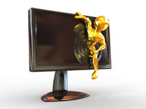 Men in monitor. 3d Royalty Free Stock Photo